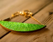 Crescent - Moon necklace gold/silver or gold/green to turn