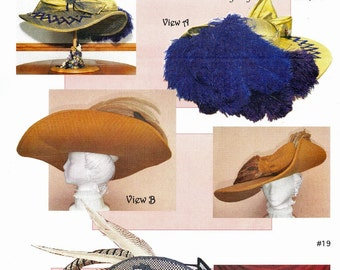 Universal Round Brimmed Straight Sided Crown Hat - Lynn McMasters Sewing Pattern # 19 Restoration 1600s Period, 1700s-1800s, Edwardian