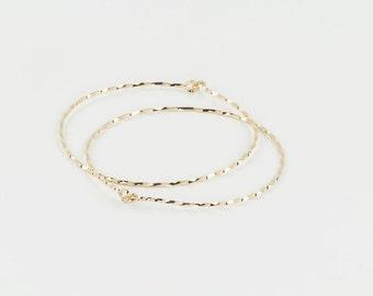 Set of Two Bangles, Gold Bangle 14K Gold Filled, Thin Bangle Bracelet, Dainty Bangles,  Twisted Bangles, Yellow Gold Bracelet, Gold Bangle