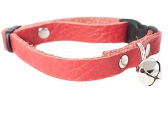 Reclaimed Leather Cat Kitten Kitty Collar with Bell Breakaway