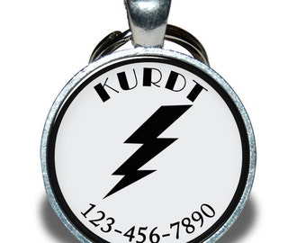 Pet ID Tag - Lightning Bolt - Dog tag, Cat Tag, Pet Tag