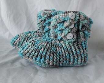 Made To Order, Crocodile Slippers, Teal and Grey Womens House Slippers , Crocodile boots, crochet house shoes, Women Sizes 6 to 10