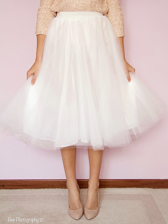 Tea length tulle wedding skirt adult tulle skirt bridal for Tea length wedding dress tulle skirt