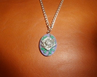Silver Rose on Purple Polymer Clay Pendant