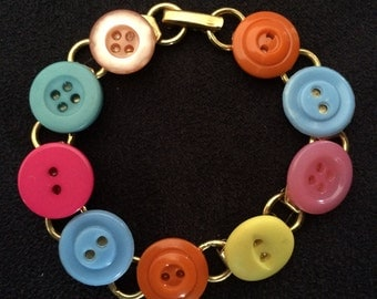 Colorful Easter Button Bracelet, Pastel Buttons, Button Charm Bracelet, Colorful Bracelet, Vintage Buttons, Pink Buttons, Orange Buttons