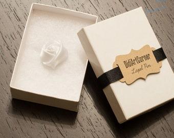 White Satin Rose Lapel Pin / Lapel Pin / Flower Lapel Pin