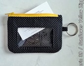 ID Wallet (Fabric 39) featuring Zipper Closure, Vinyl Window & Key Ring Student Badge Holder Coin Purse Small White Polka Dots Black Fabric