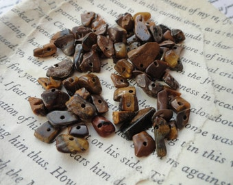 Tiger's Eye Gemstone Chip Beads, Jewelry Making, Brown, Irregular, 5 -10mm, Craft Supply