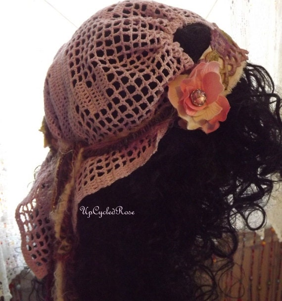 On Sale   Mixed Media Wearable Art Up-cycled Rose Gypsy DooRag Bohemian Head Wrap