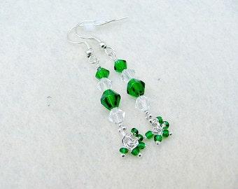 CLEARANCE JEWELRY SALE Green and Clear Swarovski Crystal Dangle Earrings/Green Earrings/Christmas Earrings/Holiday Earrings/Gifts for Women