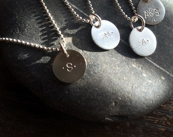 Sterling Silver Stamped Initial Necklace with Bead Chain //Custom// Made to Order // Bridemaid // Bridal