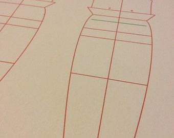 Body Block + Tank Top (Sleeveless T-shirt) pattern for Makies (Digital pdf file) PT-1