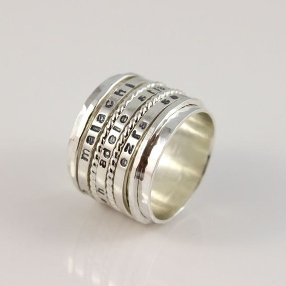 wide personalized spinner ring mothers spinning ring