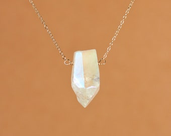Angel aura crystal necklace - crystal quartz necklace - pendulum - a wire wrapped polished quartz crystal on a 14k gold vermeil chain