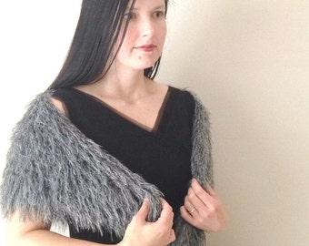 Triangular Gray Knit Scarf,  Slate Gray Triangle Shawl, Fluffy Gray scarf, Triangle scarf, gift for her, hand knit scarf