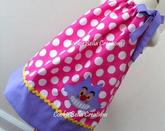 Chesire Cat from Alice in Wonderland Pink & Lavender Polka Dot Pillowcase  Dress