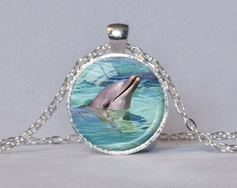 DOLPHIN PENDANT Dolphin Jewelry Dolphin Lover Gift for Dolphin Lover Ocean Pendant Diver Gift Gray Aqua Ecology Pendant Save the Dolphins