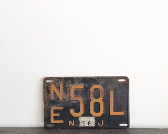 Vintage New Jersey License Plate . Industrial Decor . Metal Signage . Salvage . Wall Hanging . Home Decor