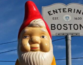 "the gnome at Boston City Limits ""Entering BOSTON"" greeting card"