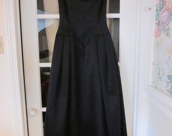 Early '90s Victor Costa Black Satin Evening Gown, Off-the-shoulder with Full Skirt, Size 8