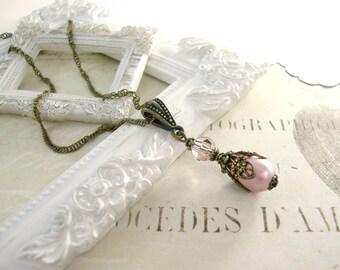 Swarovski Victorian Style Necklace - Antique Brass Bronze Dusty Pink Pearl Teardrop Necklace - Powder Pink Victorian Jewelry Bail Necklace