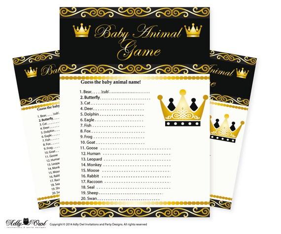Royal Prince Baby Animal Game Guess Animals Printable Card