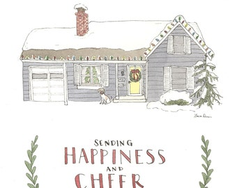 Custom House and Christmas Cards for Lindsey -- RESERVED