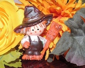 SALE Vintage marbled scarecrow brooch pin Holloween or pilgrim with broom for fall harvest gathering