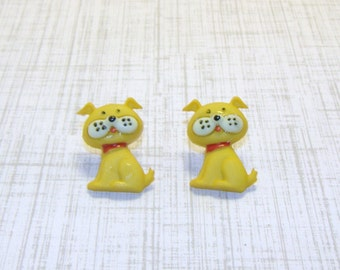 Yellow Puppy Dog Stud/Post Earring, Clip On Earrings, Dog Jewelry, Dog Earring, Puppy Earrings, Puppy Jewelry, Pet Lover