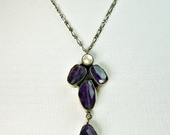 Vintage Amethyst Sterling Silver Pearl Necklace