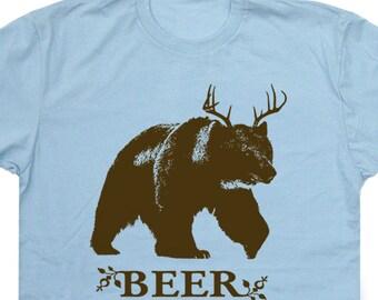Beer T Shirt Bear and Deer Beer Shirt Funny T Shirts Hunting Fishing Shirt Party humorous novelty Tee Shirt