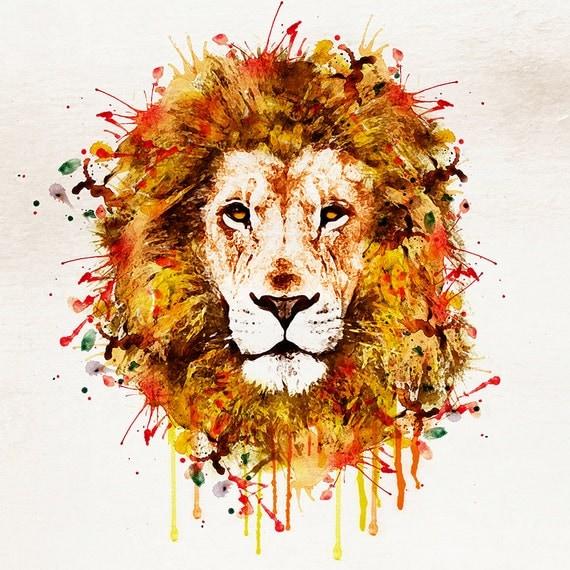 Tête de Lion aquarelle pour téléchargement immédiat par ...