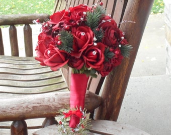 Christmas Wedding or Winter Wedding Bouquet and Grooms Boutonniere / Silk Wedding Flowers / Real Touch Red Roses / Woodland Wedding