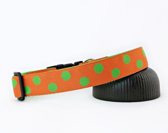 "Green Polka Dots With Orange Spring Summer Dog Collar, 1"" Wide"