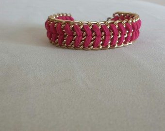 Faux Suede Gold Chain Bracelet In Fuchsia Pink