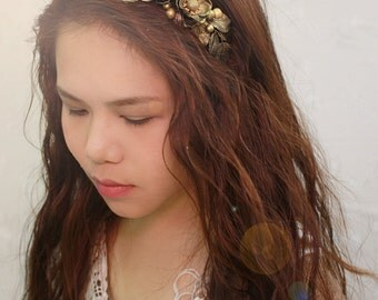 gold flower headband,greek headband, made by polymner clay sweet girl