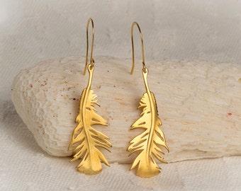 Gold Feather Earrings Feather Dangle Earrings Gold  Sterling Silver Statement Earrings statement jewelry boho earrings christmas earrings