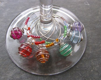 Wine Charms - Set of Six, Wire Wrapped Beads, Rainbow Wine Charms,