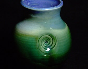 Small green and blue swirl vase
