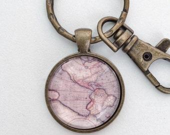 Vintage Western Hemisphere World Map Atlas Key Chain Bag Charm KC111