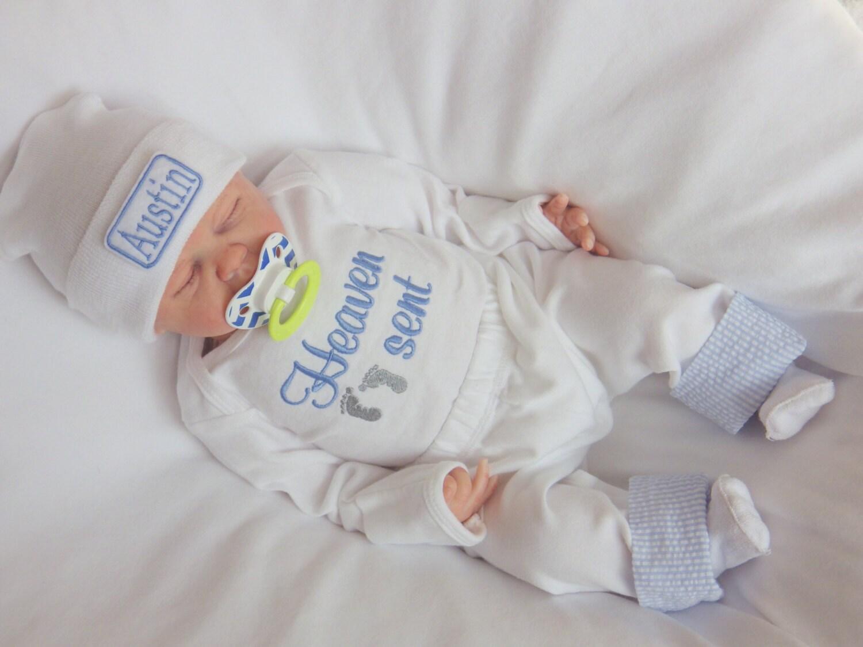 Newborn Boy Hospital Outfit and Hat. Heaven Sent Bodysuit.