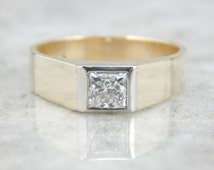 Mens Minimalist Ring with Square Cut Diamond, German Gold PCLDPH-R