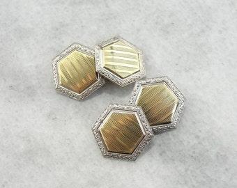Art Deco Era Cufflinks In Platinum And Green Gold 7TV0HA-N