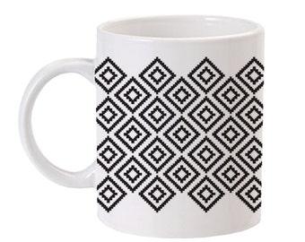 Noir Tribal Print Coffee Mug | Cool Coffee Mug | Black & White Tribal Pattern Mug