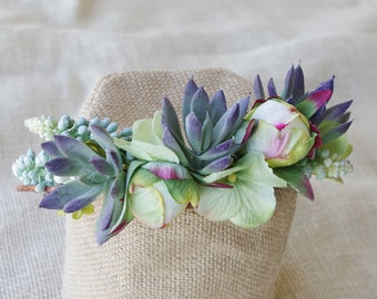 Succulent Greens and Peonies Flower Hair Wreath Adjustable Wedding Bridal Hair halo - Rustic or Shabby Chic Bride Photography Prop