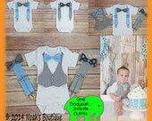 Baby Boy Clothes - New Baby Gift Set - Coming Home From Hospital - Hip Baby Clothes - Baby Boy Outfit - Vest Bow Tie Suspenders - Grey Blue