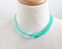 Ombre turquoise necklace, ombre necklace, aqua necklace, sea foam necklace, teal necklace, bridesmaid turquoise necklace, turquoise necklace