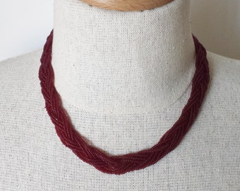 Ruby red necklace,seed bead necklace,burgundy necklace,braided necklace,cranberry,wine color,bridesmaid necklace,beaded necklace,dark red