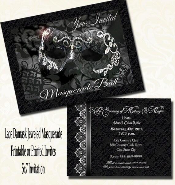 Masquerade Wedding Invitations: Lace Damask Masquerade Party Invitation Wedding Masquerade
