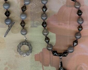 Masked - Carved Succor Creek Jasper Dog Pendant, Gray Agate, Smoky Quartz, Garnet, Sterling Silver Necklace